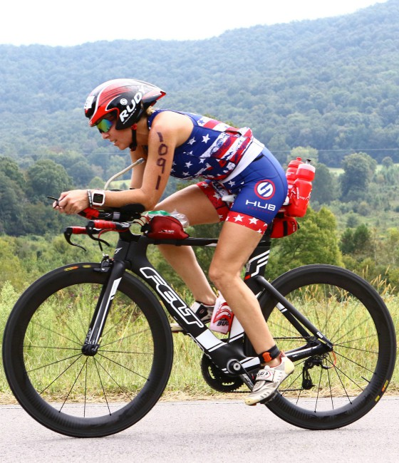 Jennifer competing in cycling portion of IRONMAN Chattanooga.