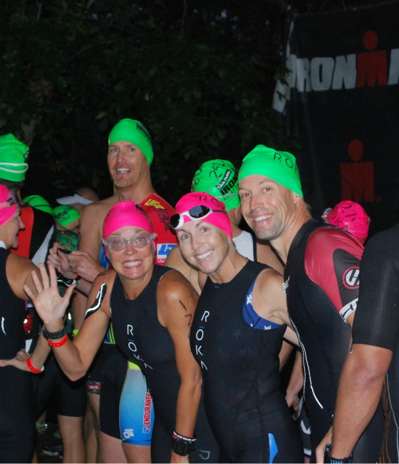 Hub team competing in swim portion of IRONMAN Chattanooga.